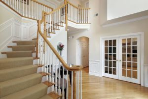 Wooden White and Maple Staircase