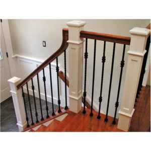 Interior Stair Railing with Double Ball Iron Balusters and White Wood Newel Posts