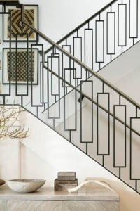 contemporary staircase with single rectangle black iron balusters from stair-parts.com