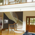 Stair Parts Project: Curved Staircase with Maple Stair Handrail and White Painted Poplar Wood Balusters
